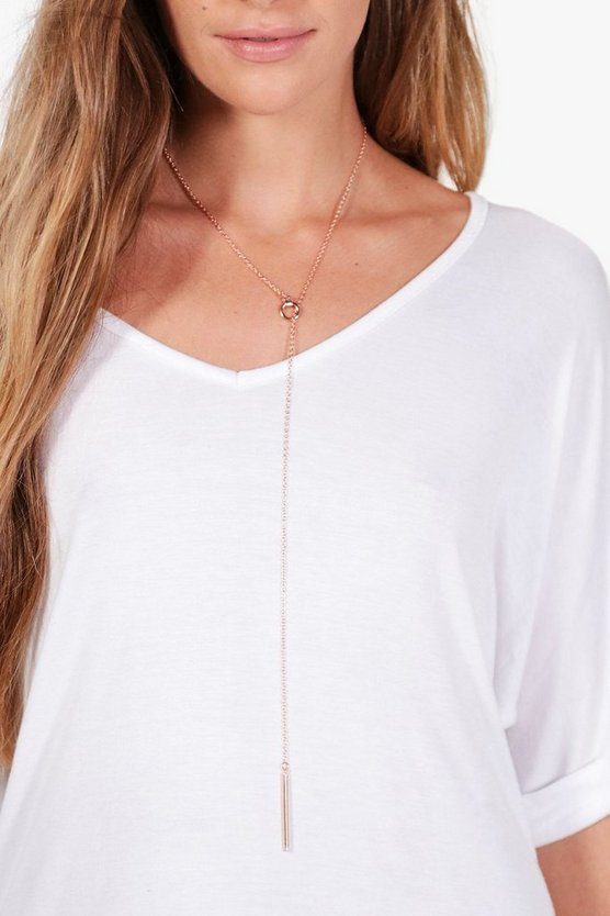 Elena Skinny Plunge Hoop And Bar Necklace