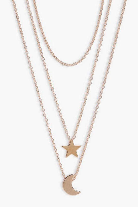 Kaylie Star And Moon Layered Necklace