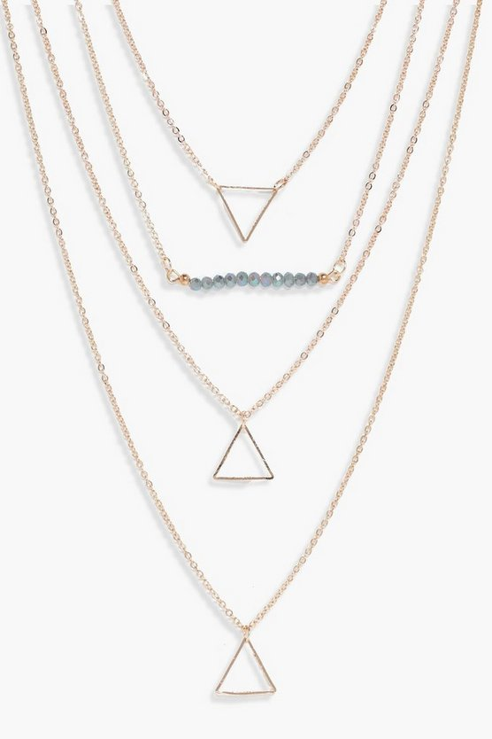 Lexie Bead And Triangle Layered Necklace