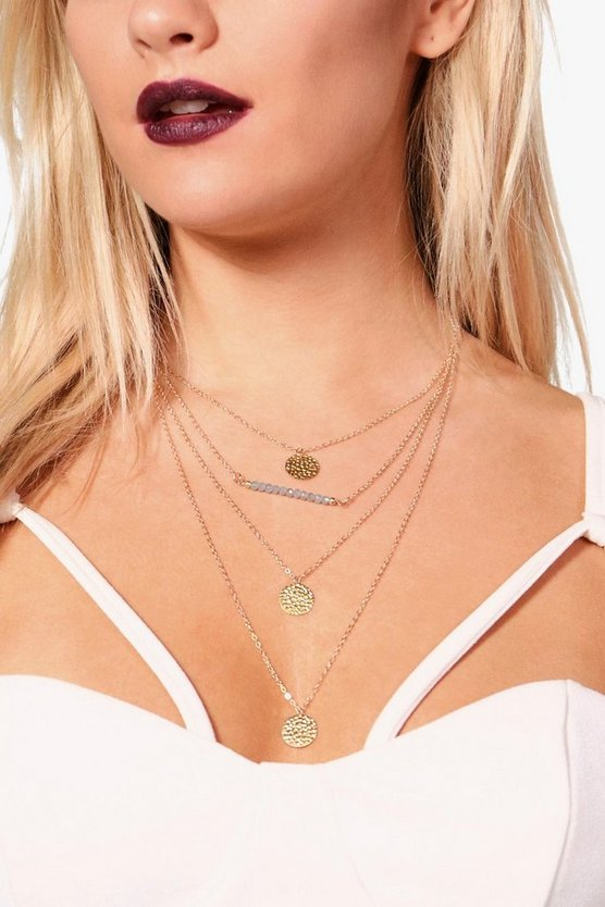 Alex Bead Triple Coin Layered Necklace