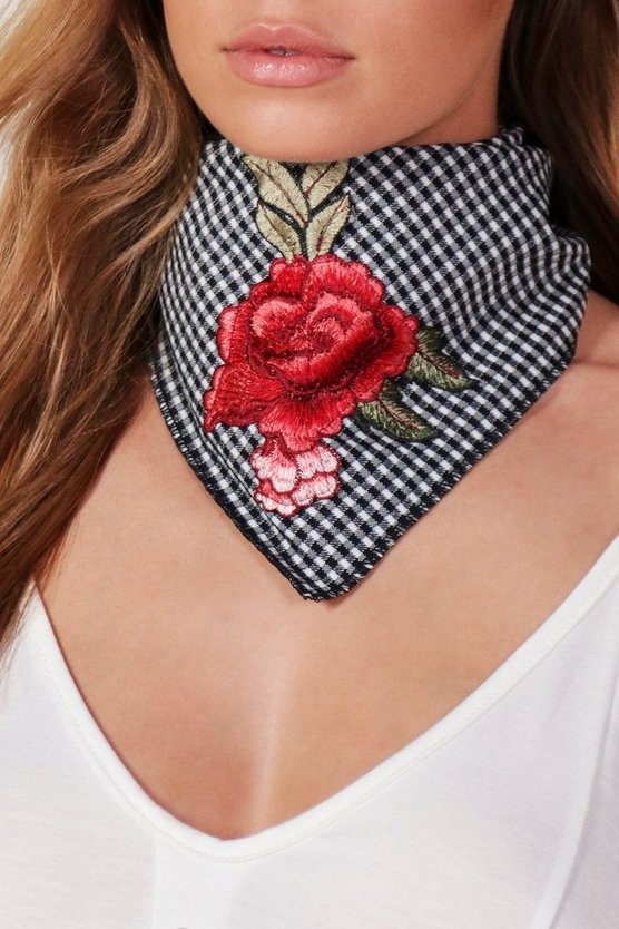 Maisy Gingham Embroidered Bandana