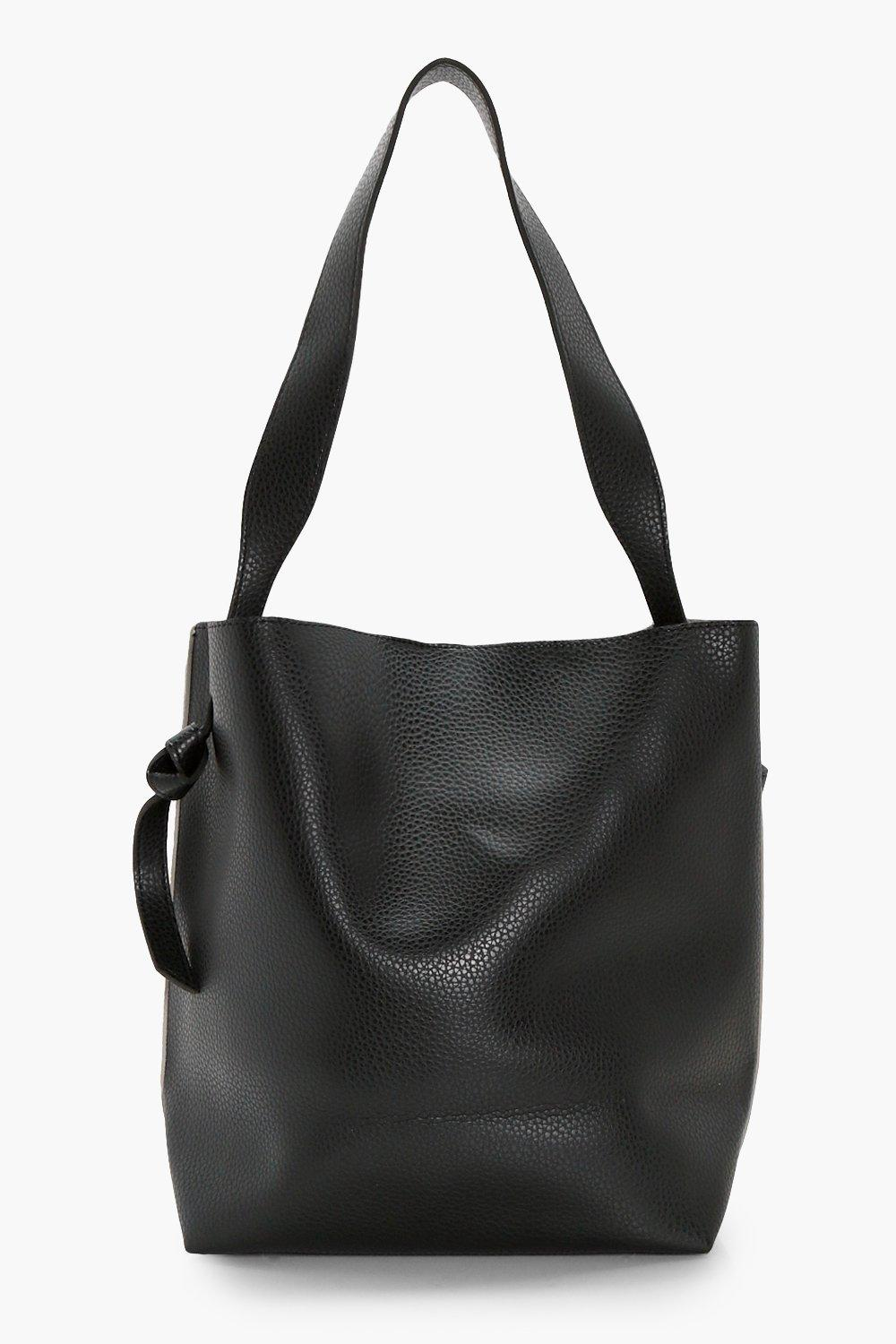 Contrast Handle Shopper - black - Anya Contrast Ha