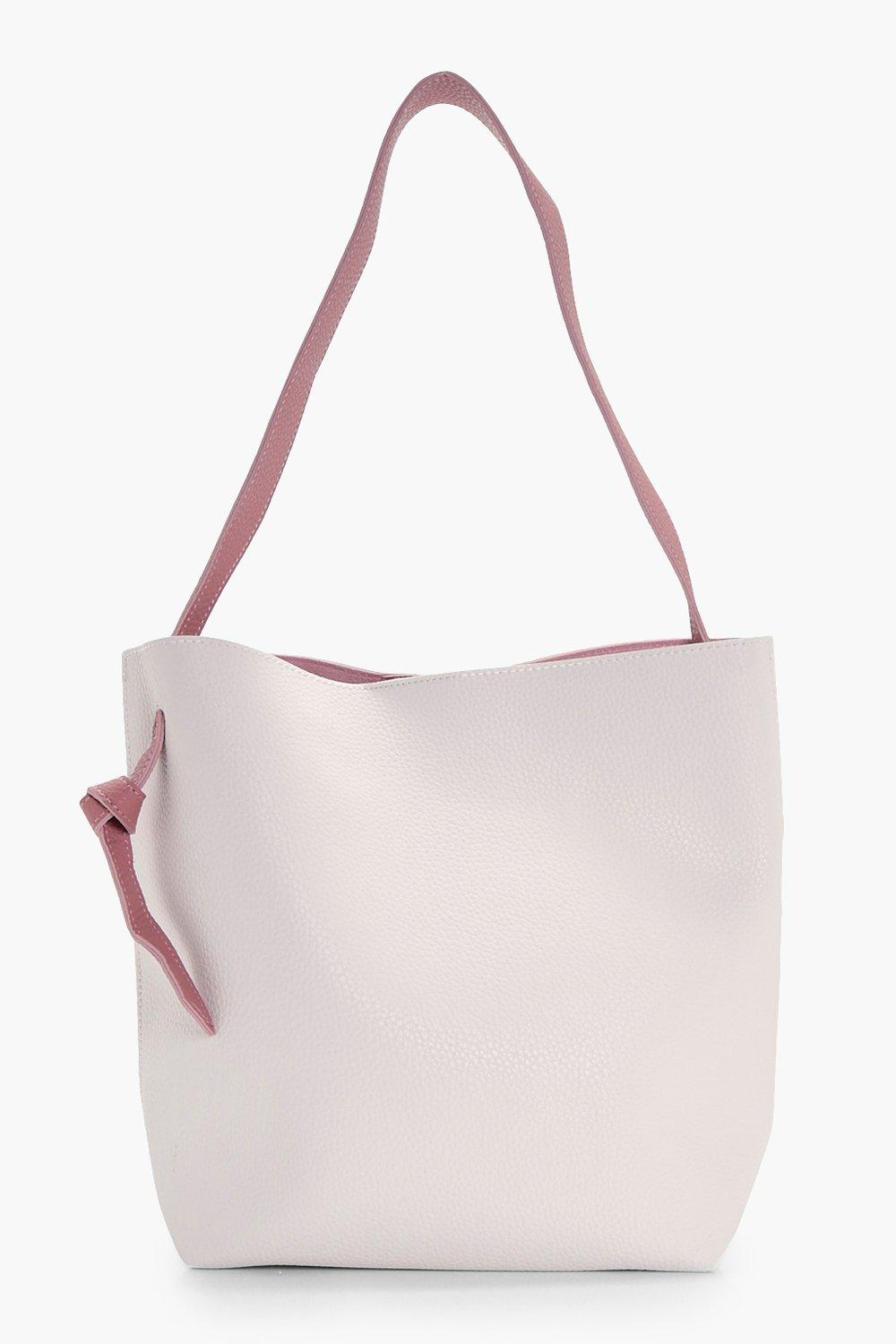Contrast Handle Shopper - white - Anya Contrast Ha