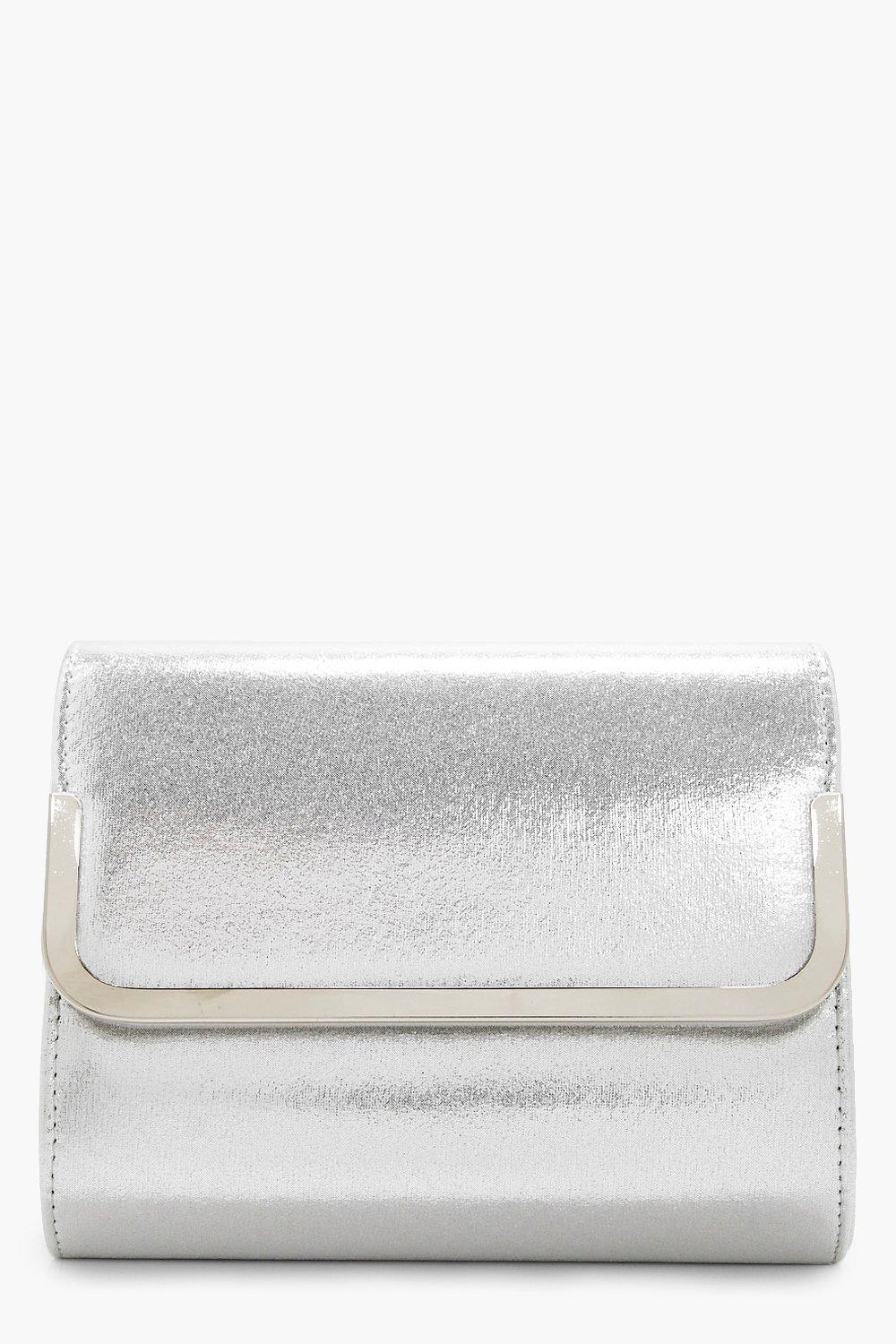 Metal Trim Glitter Fold Over Clutch - silver - Ang