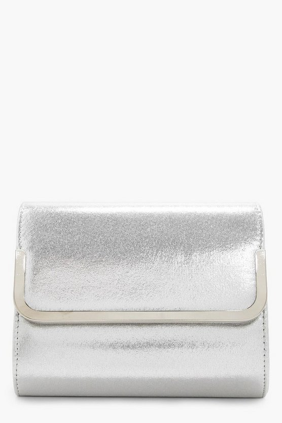 Angel Metal Trim Glitter Fold Over Clutch