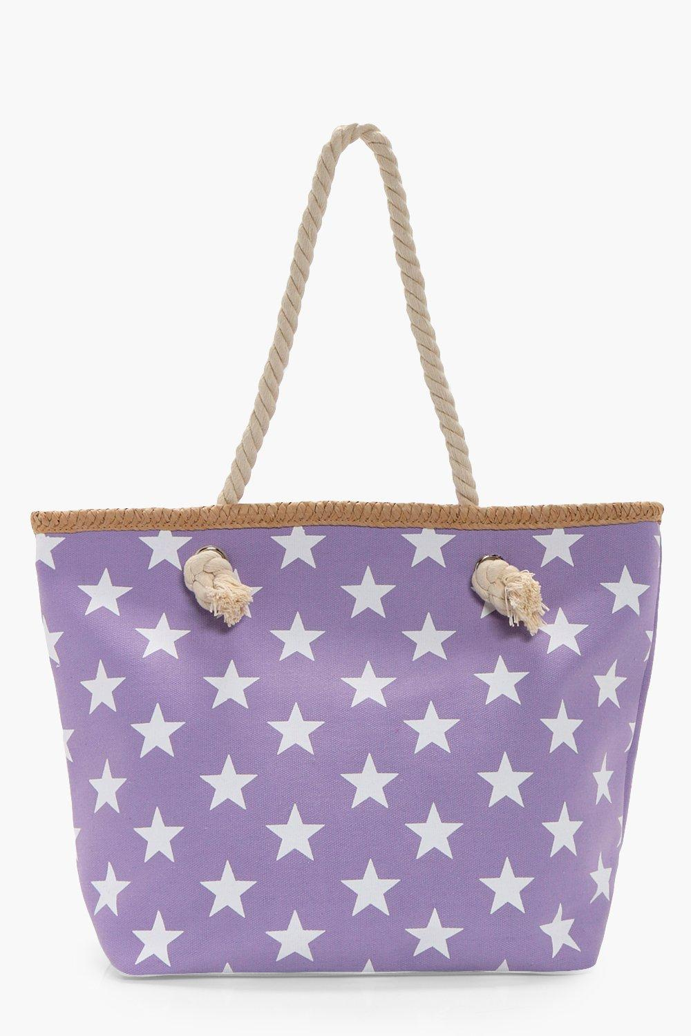 All Over Star Print Beach Bag - lilac - Tilly All