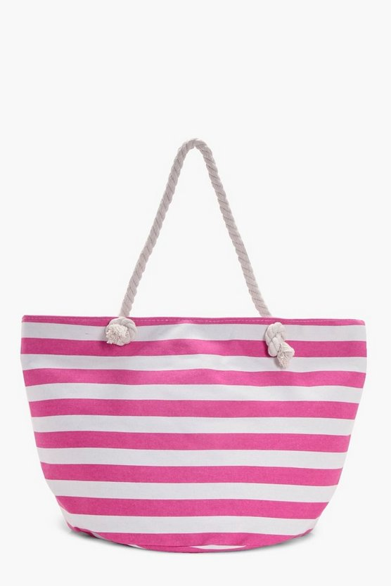 Lois Stripe Print Beach Bag