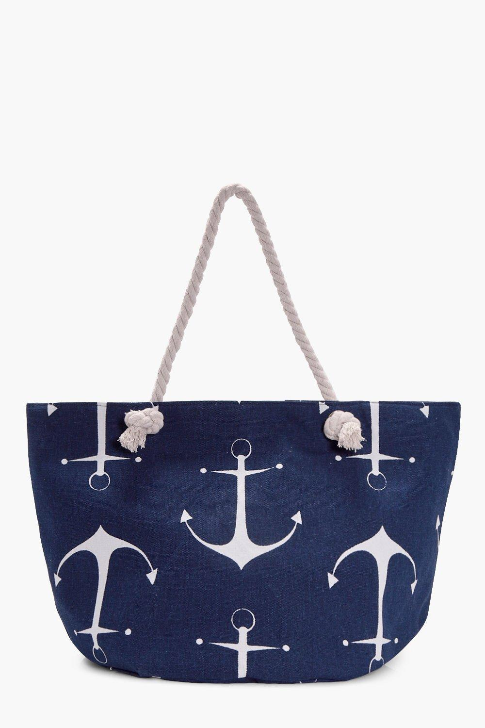 Anchor Print Beach Bag - navy - Maria Anchor Print
