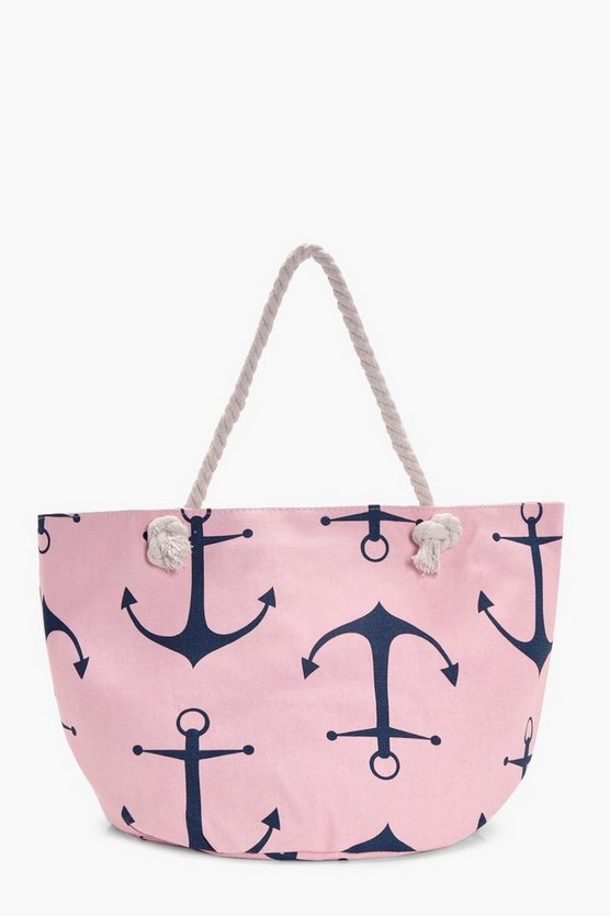 Maria Anchor Print Beach Bag