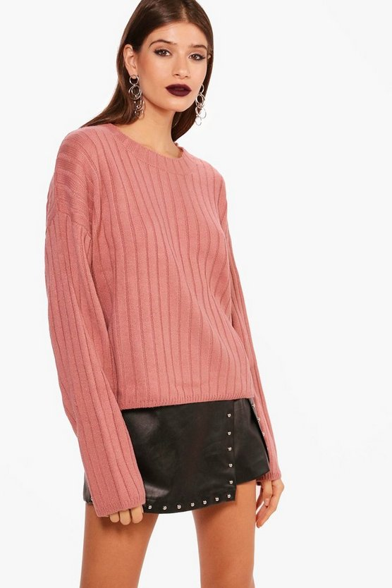 Lily Wide Rib Stem Hem Jumper