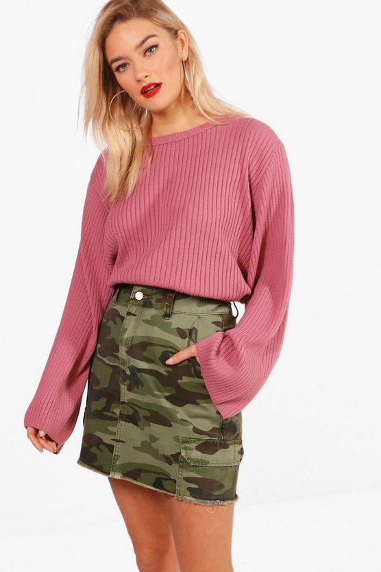 Wide Sleeve Rib Knit Jumper