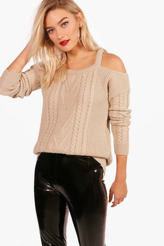 Zoe Slash Detail Cable Knit Jumper