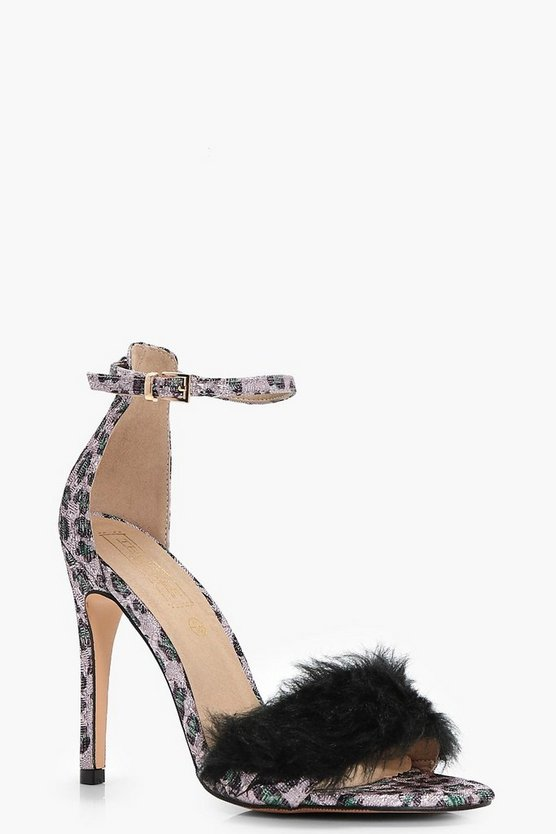 Lola Leopard Print Faux Fur Trim 2 Part Heels