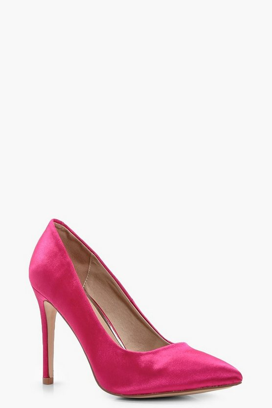 Laura Satin Pointed Toe Court Shoes