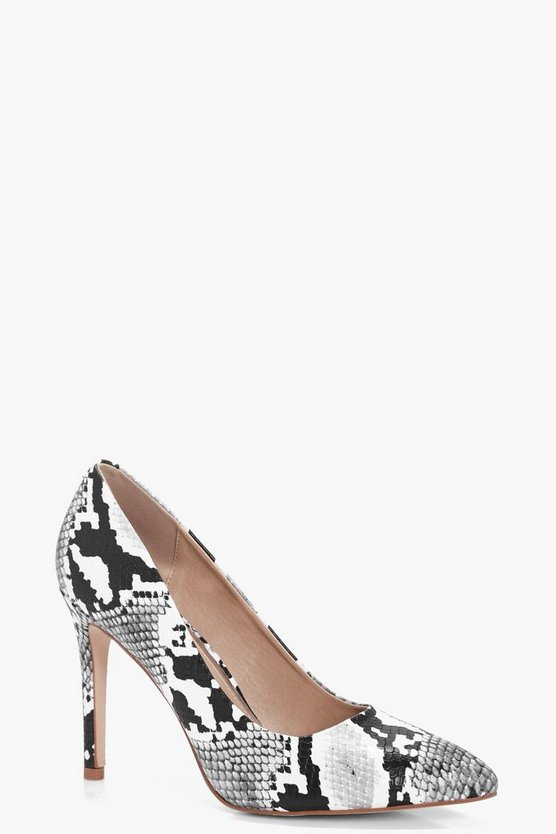 Sara Snake Print Pointed Toe Court Shoes