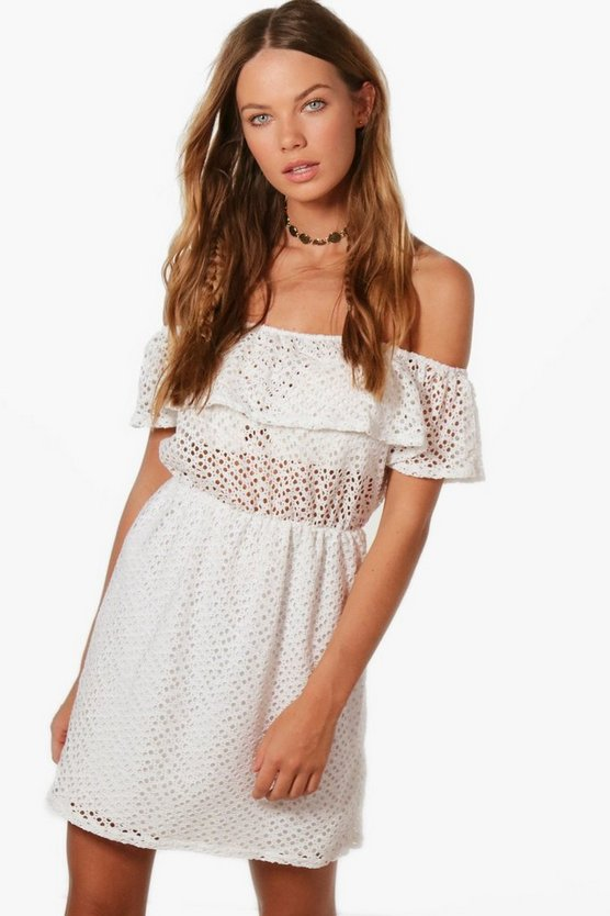 Jamie Crochet Off Shoulder Skater Dress