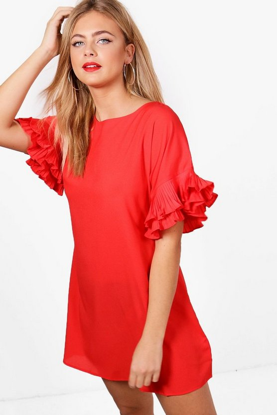 Daisy Ruffle Sleeve Shift Dress