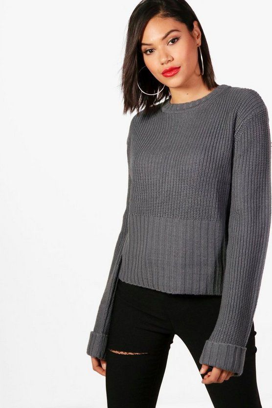 Turn Up Cuff Rib Edge Jumper
