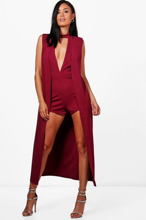 Vickie Plunge Playsuit & Duster Co-ord