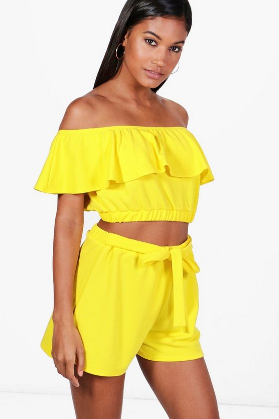 Harriet Off Shoulder Crop & Shorts Co-ord