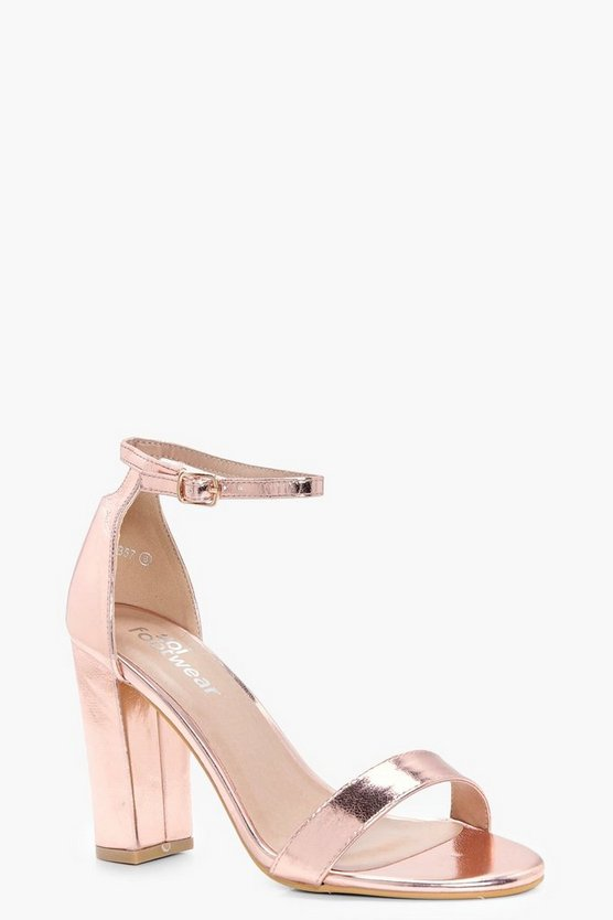 Ella Metallic Block Barely There Heels