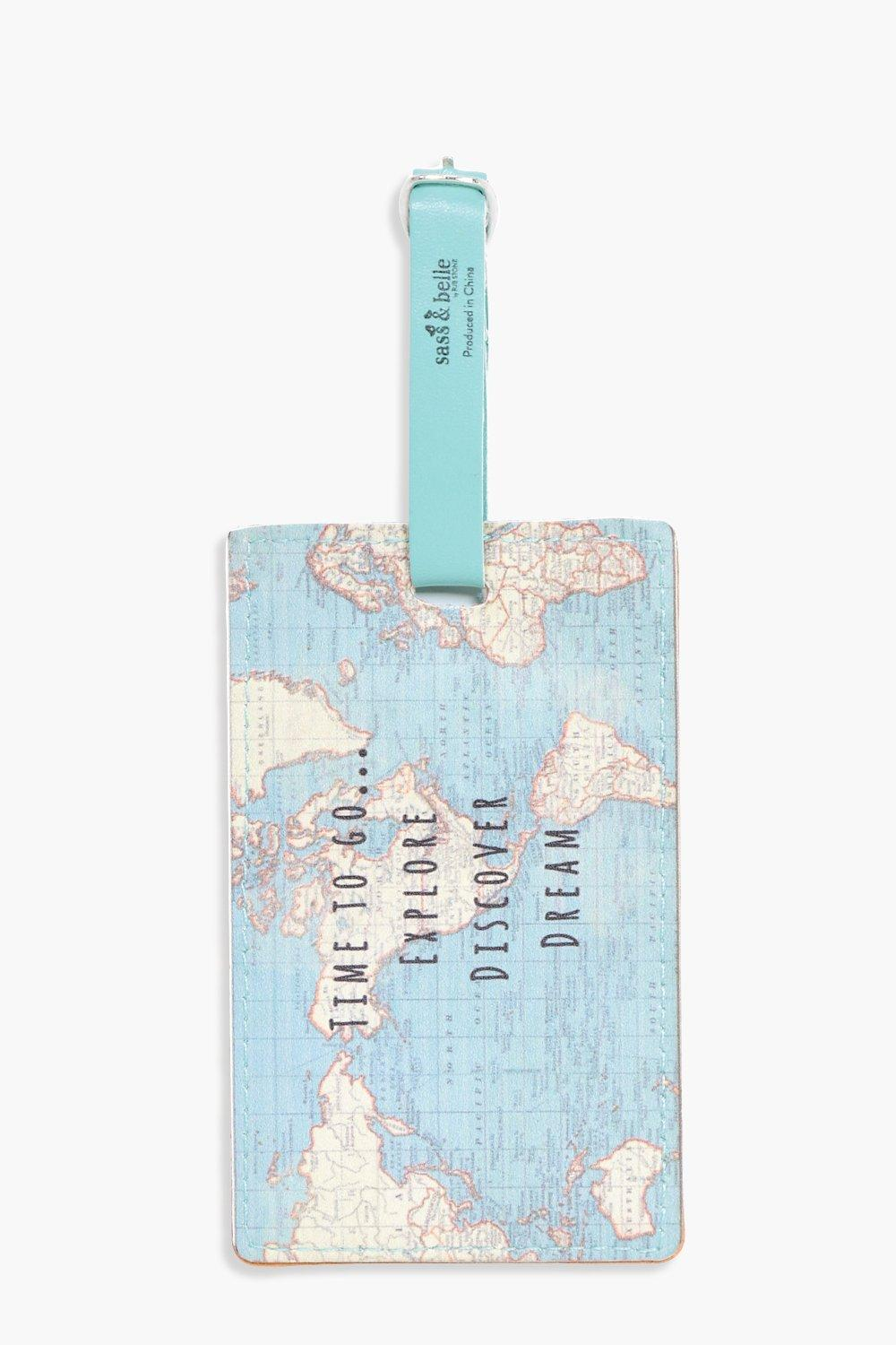 Map Time To Go Luggage Tag - multi - Vintage Map T