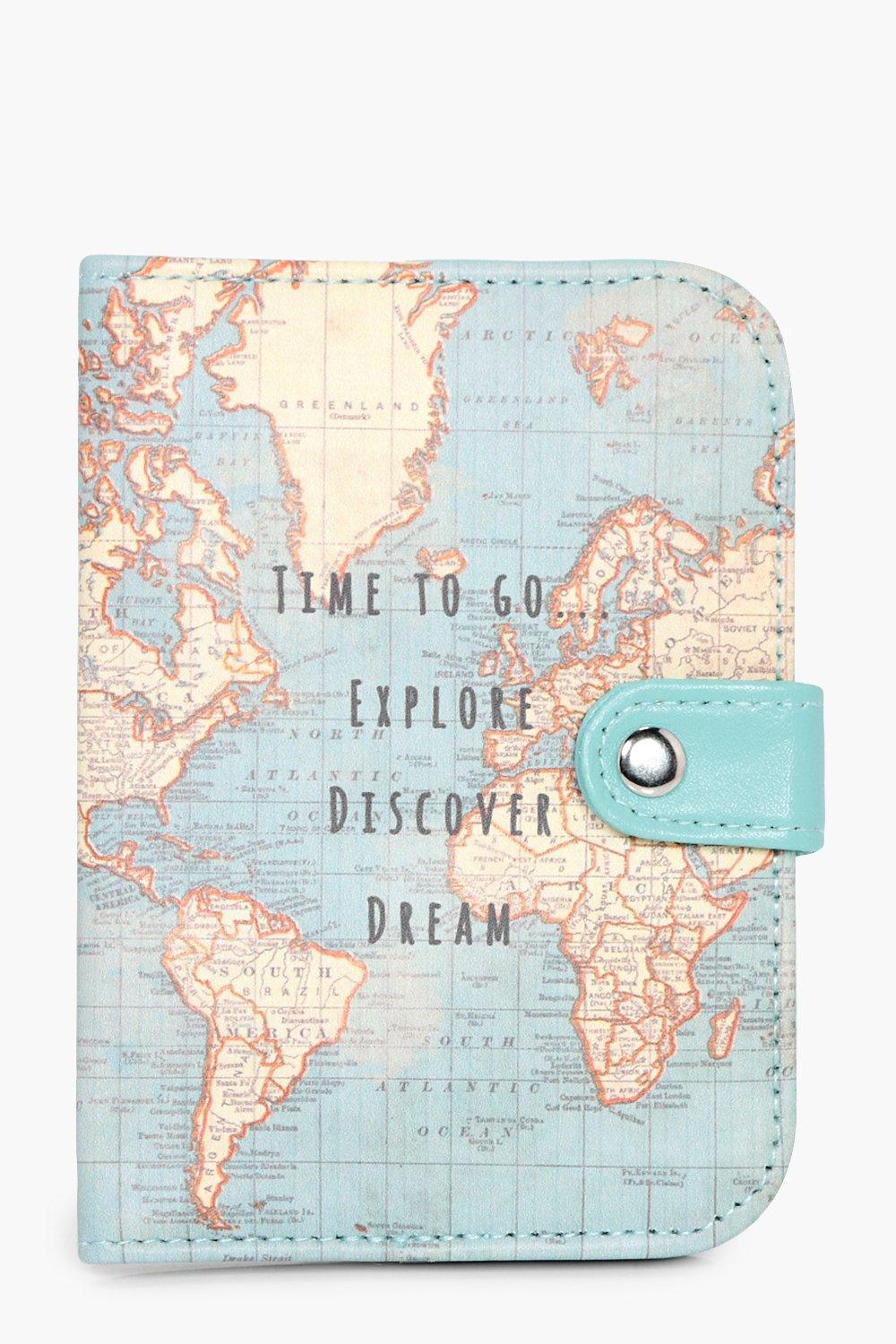 Map Time To Go Passport Holder - multi - Vintage M
