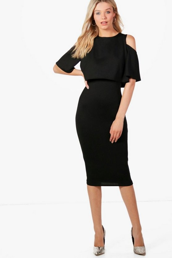 Rachel Cold Shoulder Double Layer Midi Dress