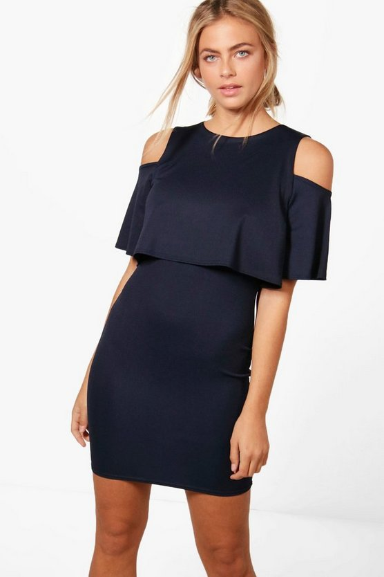 Amanda Cold Shoulder Double Layer Dress