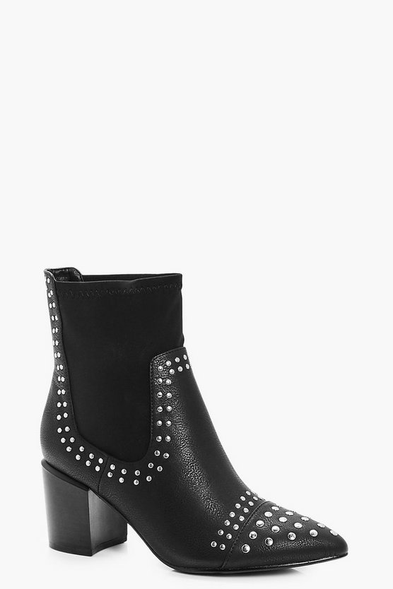 Katie Silver Stud Trim Pointed Toe Sock Boots
