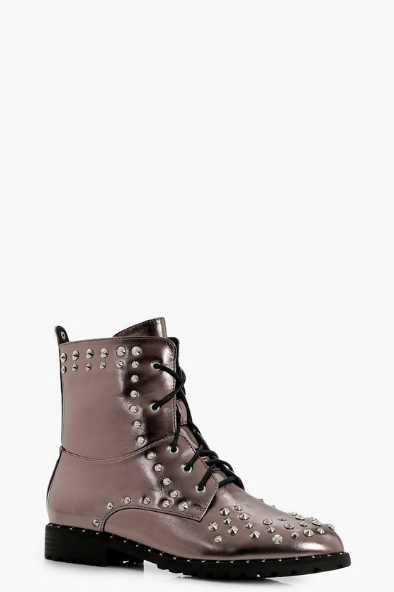 Isobel Stud Trim Metallic Extreme Hiker Boot