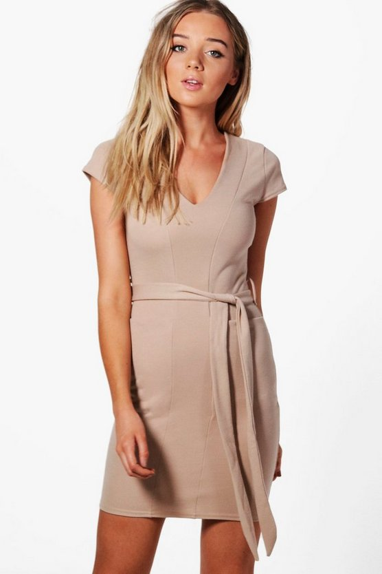 Olivia Pocket Front Belted Midi Dress