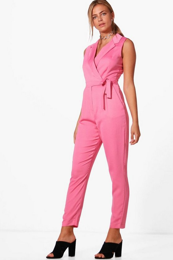 Ella Premium Satin Tailored Sleeveless Jumpsuit