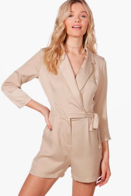 Anna Premium Satin Tailored Playsuit