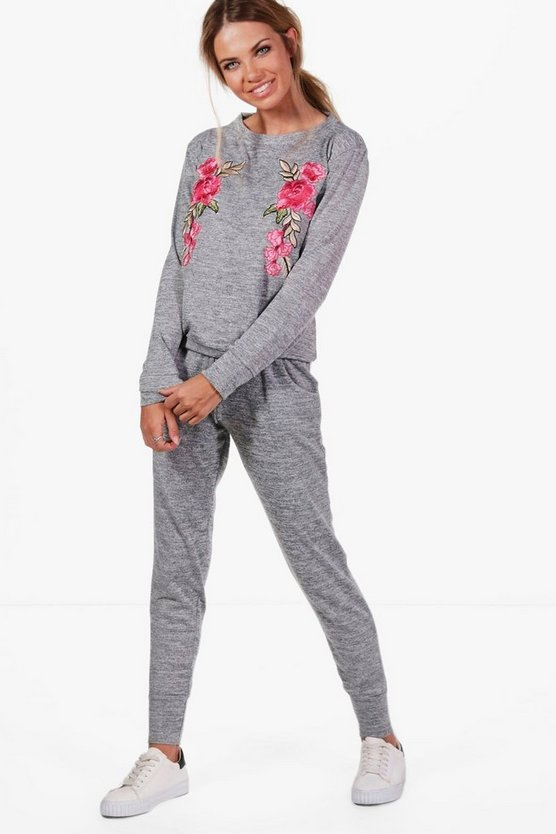 Karla Floral Embroidered Knitted Lounge Set