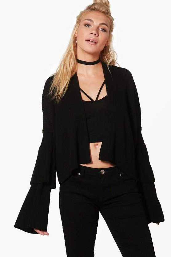 Lottie Oversized Ruffle Sleeve Cropped Cardigan