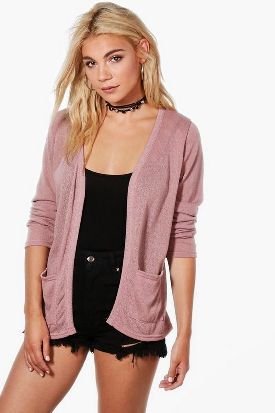 Ava Soft Knit Edge to Edge Cardigan With Pockets