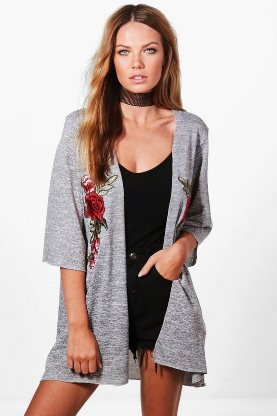 Holly Floral Embroidered Kimono Cardigan