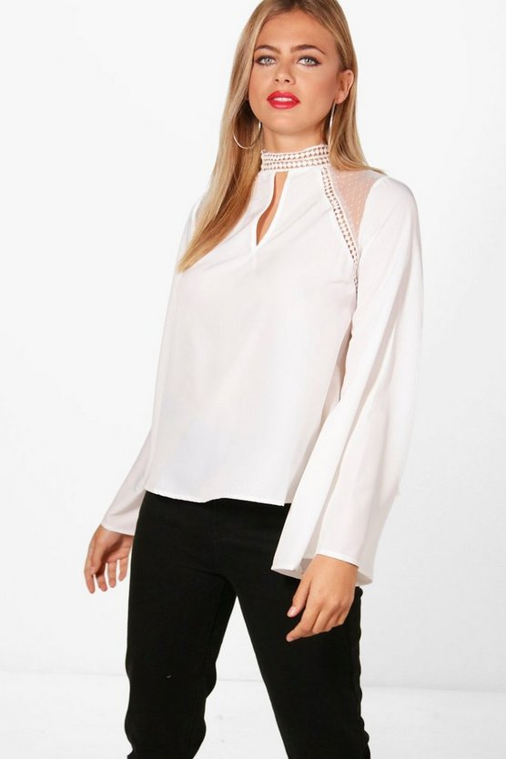 Erin Crochet Trim Bell Sleeve Blouse