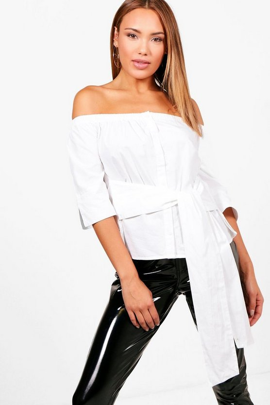 Ciara Off The Shoulder Tie Waist Shirt