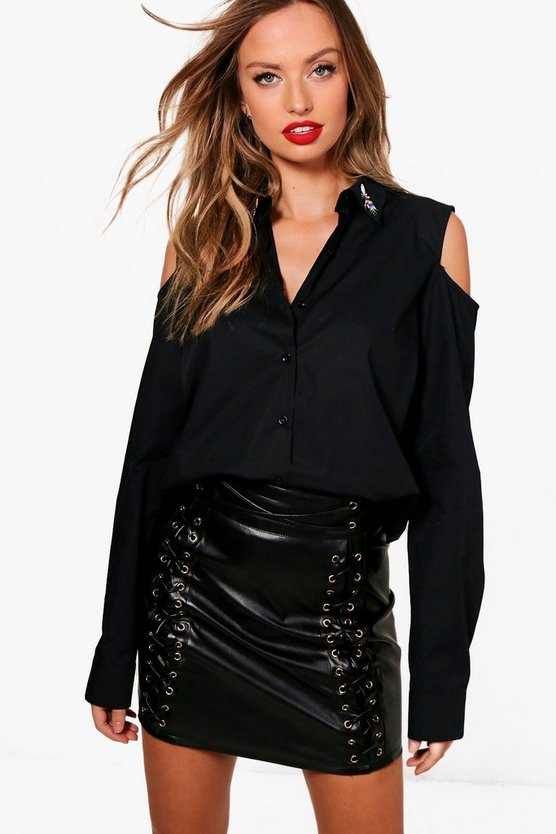 Lorna Embellished Collar Cold Shoulder Shirt