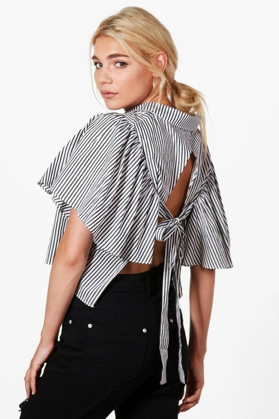 Anna Open Tie Back Stripe Short Sleeve Shirt