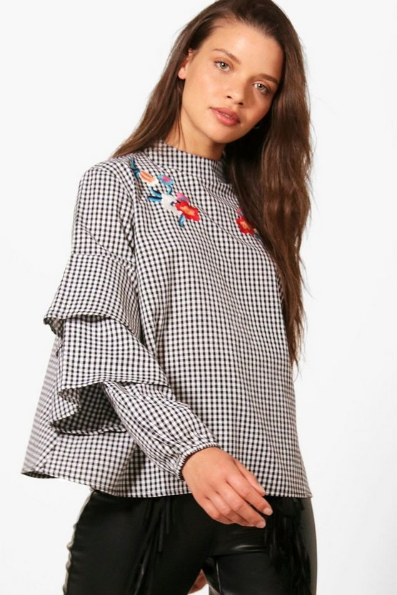 Lizzie Gingham Embroidered Ruffle Blouse