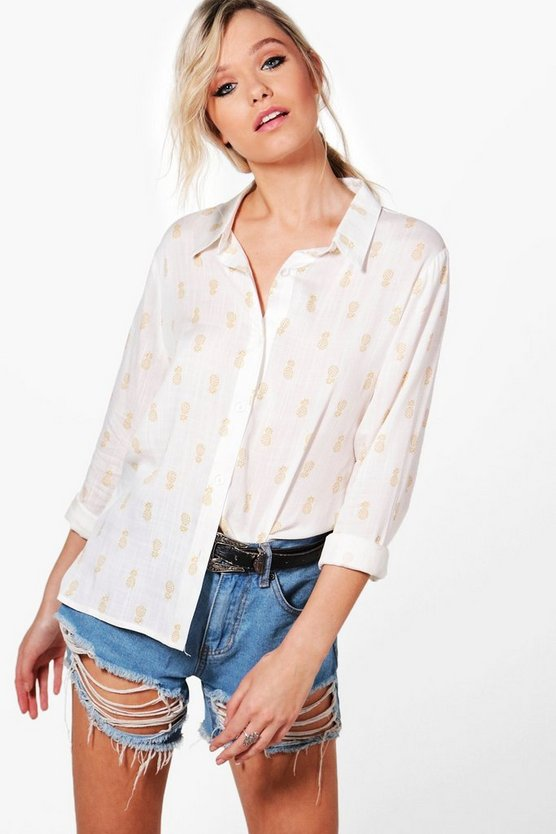 Faith Pineapple Print Woven Shirt