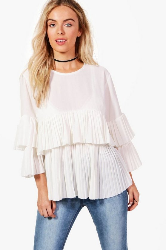 Heather Woven Tiered Sleeve Blouse
