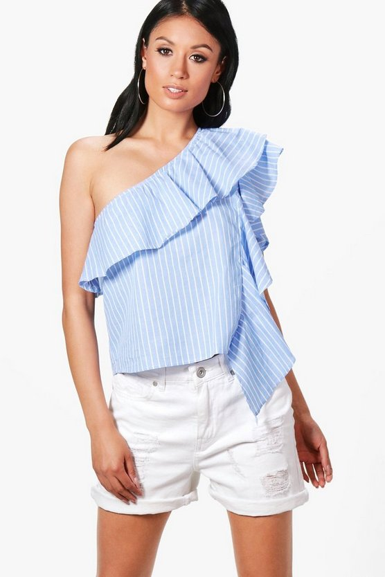 Felicity One Shoulder Stripe Ruffle Top