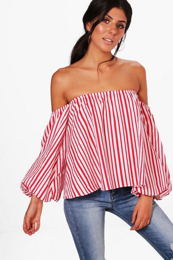 Olivia Off The Shoulder Stripe Blouse