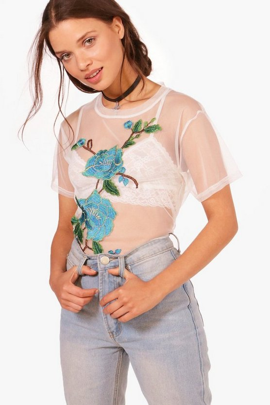 Stella Embroidered Applique Mesh Tee