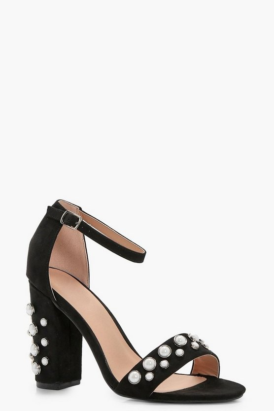 Louise Pearl Embellished Block Heel