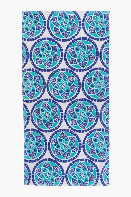 Mosaic Flower Beach Towel